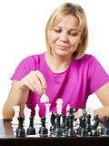 Woman playing chess isolated Stock Photo