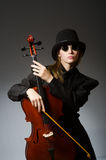 The woman playing classical cello in music concept Royalty Free Stock Photography