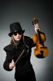 Woman playing classical violin in music concept Royalty Free Stock Photos