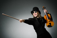 Woman playing classical violin in music concept Royalty Free Stock Images