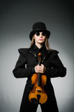The woman playing classical violin in music concept Stock Image
