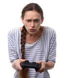 Woman playing on console. video game addiction concept Stock Photo