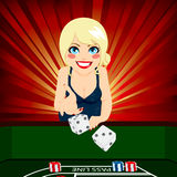 Woman Playing Craps Stock Photography
