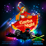 Woman playing Dandiya in disco Garba Night poster for Navratri Dussehra festival of India Stock Photography