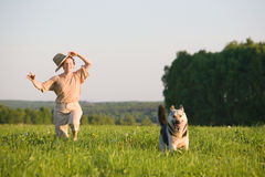 Woman playing with dog Royalty Free Stock Image