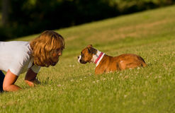 Woman playing with dog. Side view of middle aged woman playing with puppy dog on grass royalty free stock image