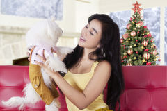 Woman playing with dog while sitting on sofa Stock Photography