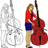 Woman playing the double-bass Stock Photos