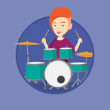 Woman playing on drum kit vector illustration. Stock Images