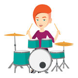 Woman playing on drum kit vector illustration. Young smiling woman playing on drums. Caucasian mucisian playing on drums. Happy female drummer sitting behind Royalty Free Stock Photos