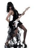 Woman playing electric guitar player Stock Photography