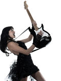 Woman playing electric guitar player. One woman playing electric guitar on studio isolated white background Royalty Free Stock Image