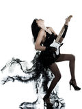 Woman playing electric guitar player. One woman playing electric guitar on studio isolated white background Royalty Free Stock Photos