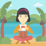 Woman playing ethnic drum vector illustration. Royalty Free Stock Photos