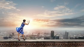 Woman playing fife Royalty Free Stock Photo