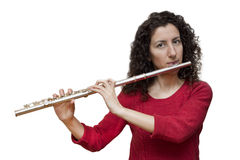 Woman Playing Flute Stock Photos