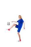 Woman playing football Royalty Free Stock Images