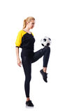 Woman playing football Stock Photography