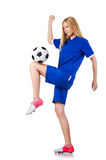 Woman playing football Royalty Free Stock Photography