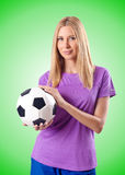 Woman playing football on white Stock Images