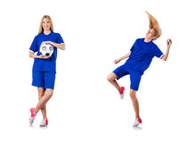 The woman playing football on white Royalty Free Stock Photography