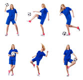 The woman playing football on white Stock Photo