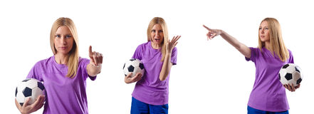 The woman playing football on white Royalty Free Stock Images