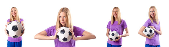 The woman playing football on white Royalty Free Stock Photo