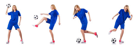 The woman playing football on white Royalty Free Stock Image