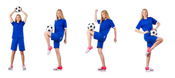 The woman playing football on white Stock Photography