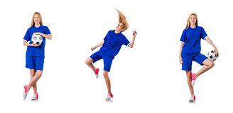 The woman playing football on white Royalty Free Stock Photos