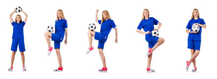 The woman playing football on white Stock Images