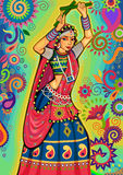 Woman playing garba dance for Dussehra Dandiya night during Navratri Stock Image