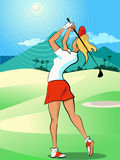 Woman playing golf Royalty Free Stock Photo