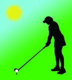 Woman playing golf. Silhouette Stock Photo
