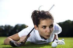 Woman playing golf on field. Thumbs up on golf, bright colorful vivid theme Stock Photo