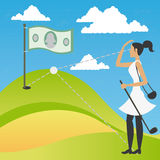 Woman playing a golf of money Stock Photos