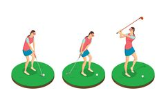Woman playing golf, vector 3d isometric illustration. Golf swing stages, isolated design elements royalty free illustration