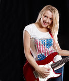 Woman Playing the Guitar Stock Photography