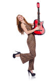 Woman playing guitar isolated Royalty Free Stock Images