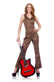 Woman playing guitar isolated Royalty Free Stock Photos