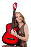 Woman playing guitar isolated Royalty Free Stock Photo