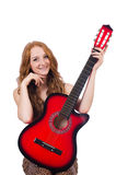 Woman playing guitar isolated Royalty Free Stock Image
