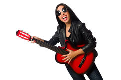 The woman playing guitar isolated on white Stock Photo