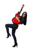The woman playing guitar isolated on white Royalty Free Stock Photos