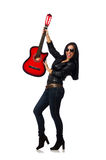 The woman playing guitar isolated on white Royalty Free Stock Images