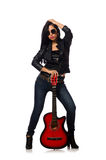 Woman playing guitar isolated on white Stock Image