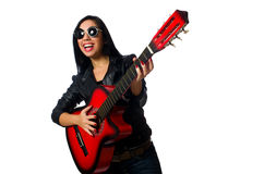 Woman playing guitar isolated on white Royalty Free Stock Photo