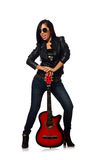 The woman playing guitar isolated on white Stock Images