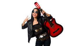 The woman playing guitar isolated on white Royalty Free Stock Photography